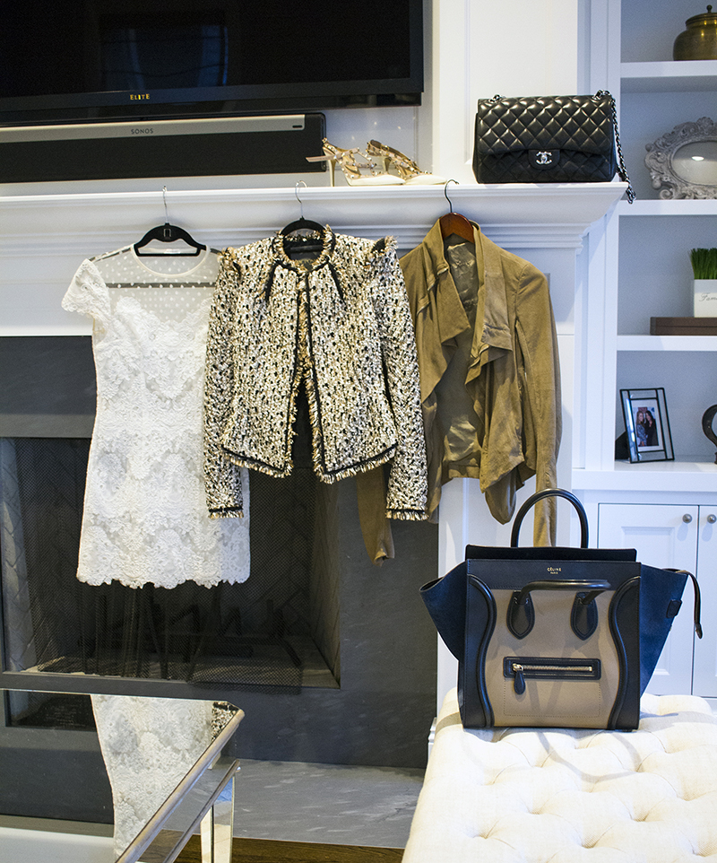 celine bag, chanel bag, rick owens jacket