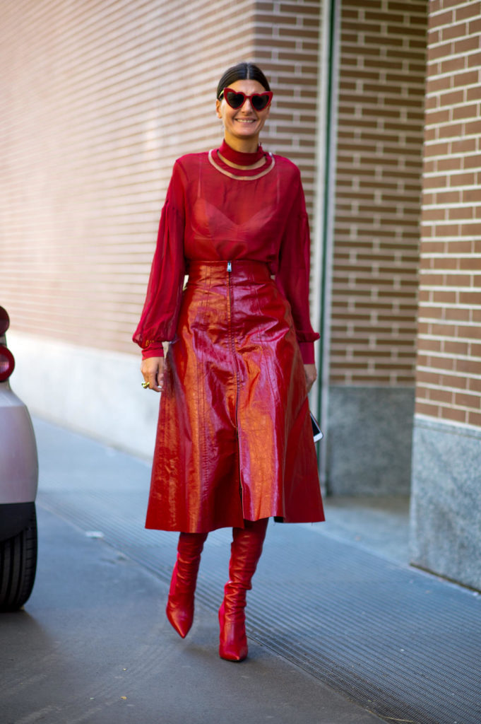 red on red outfit, fall 2017 trends