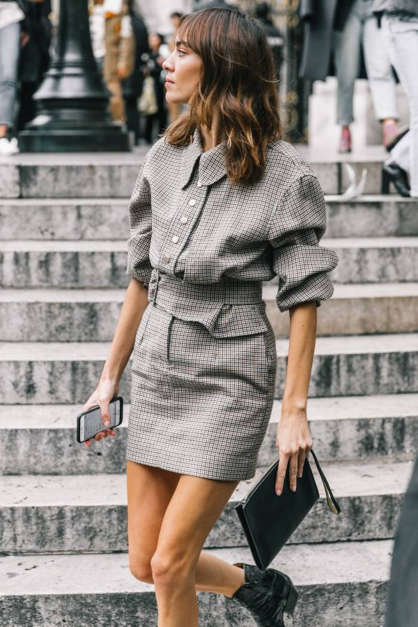 Head-to-toe plaid in a short skirt version