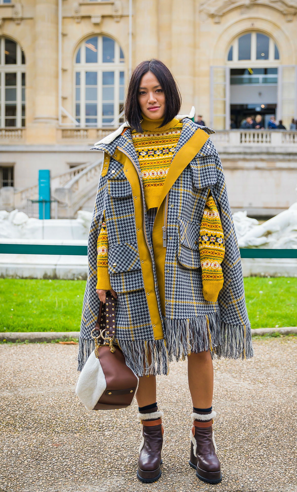 An over-sized plaid poncho