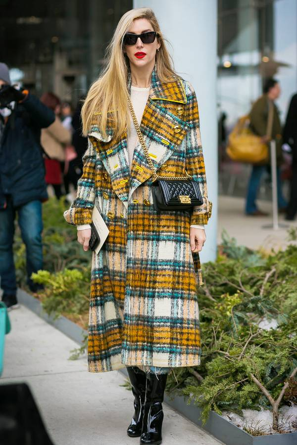 Joanna Hillman embraces plaid in color